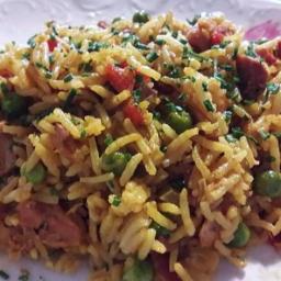 Reisfleisch mit Paprika und Curry